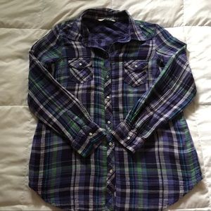 Old Navy Flannel Purple Button Down Shirt Medium